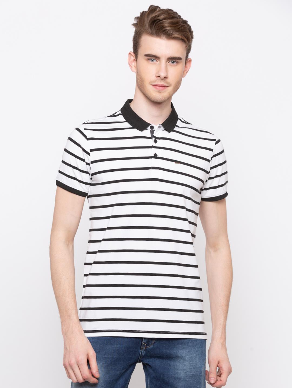 Spykar | spykar White & Black Striped Slim Fit Polo T-Shirt