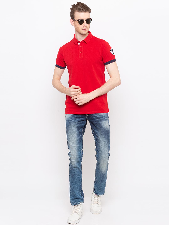 Spykar | spykar Red Solid Slim Fit Polo T-Shirt