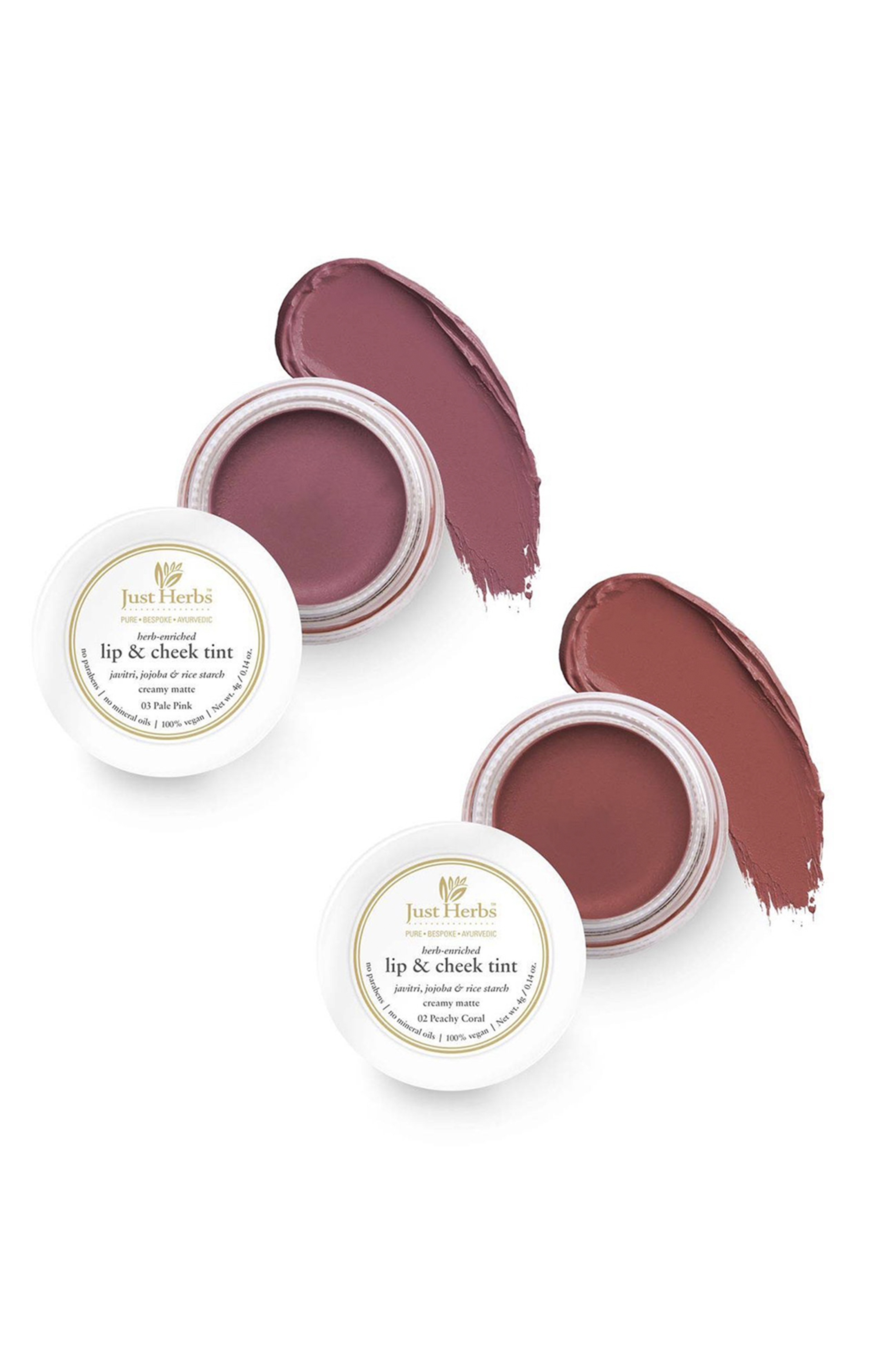 Just Herbs | Just Herbs Vegan Lip and Cheek Tint ( pack of 2) : Subtle Day-Wear Must Haves - Peachy Coral and Pale Pink