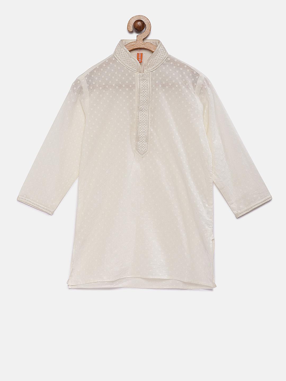 Ethnicity | Ethnicity White Polyester Cotton Kids Boys Kurta
