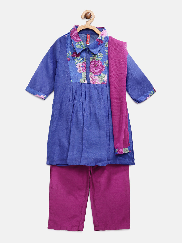Ethnicity | Ethnicity Royal Blue Polyester Cotton Kids Girls Skd