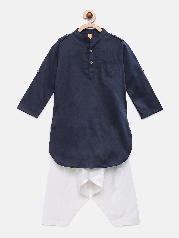 Ethnicity | Ethnicity Navy Cotton Satin Kids Boys Kp Set