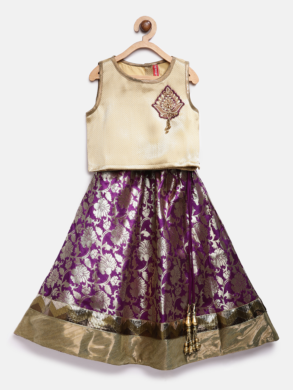 Ethnicity | Ethnicity Magenta Polyester Kids Girls Lehenga Set