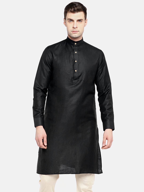 Ethnicity | Ethnicity Black Linen Blend Men Kurta