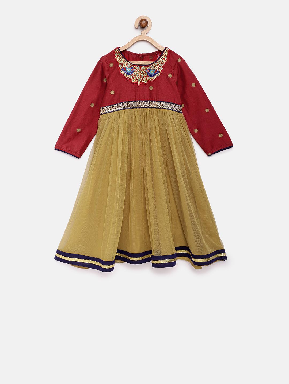 Ethnicity | Ethnicity Maroon Polyester Kids Girls Dress