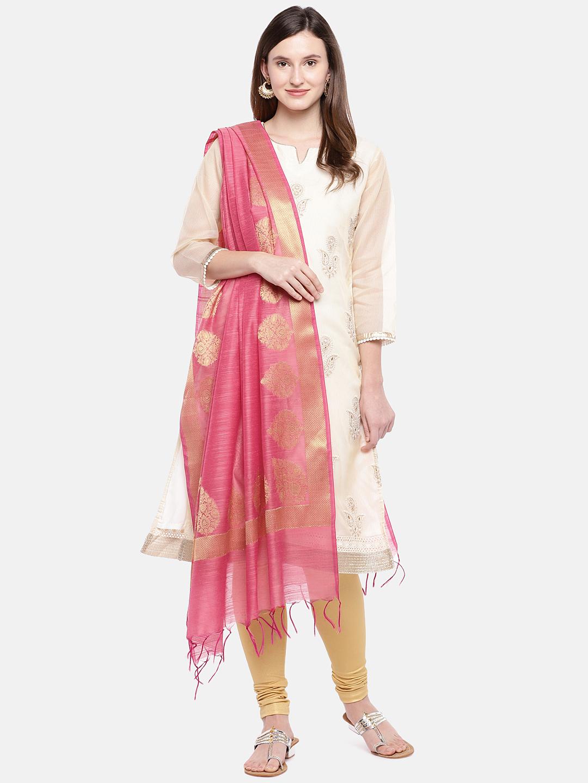 Ethnicity   Ethnicity Peach Silk Women Banaras Dupatta