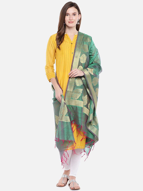 Ethnicity | Ethnicity Green Silk Women Banaras Dupatta