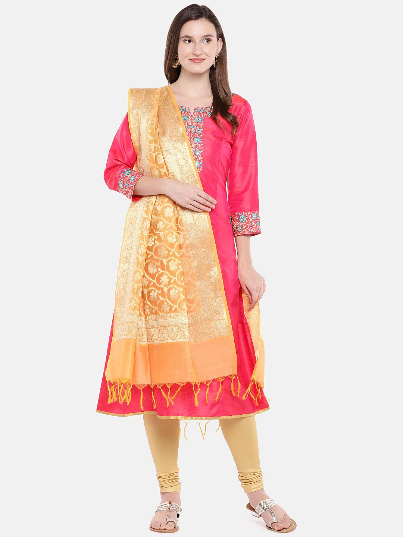 Ethnicity   Ethnicity Orange Silk Women Banaras Dupatta