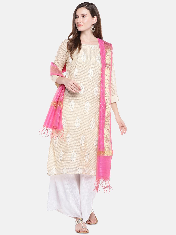 Ethnicity | Ethnicity Pink Silk Women Banaras Dupatta
