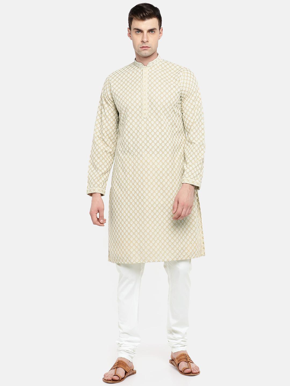 Ethnicity | Ethnicity Beige Cotton Blend Men Kp Set