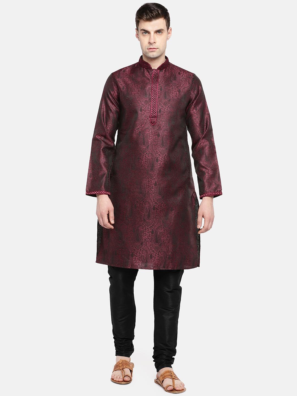 Ethnicity | Ethnicity Maroon Polyester Men Kp Set