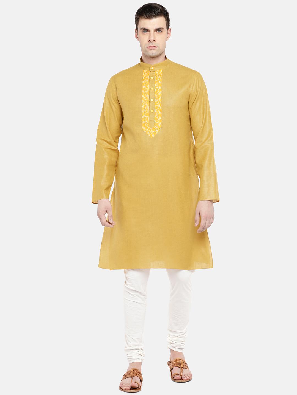 Ethnicity | Ethnicity Yellow Cotton Blend Men Kurta