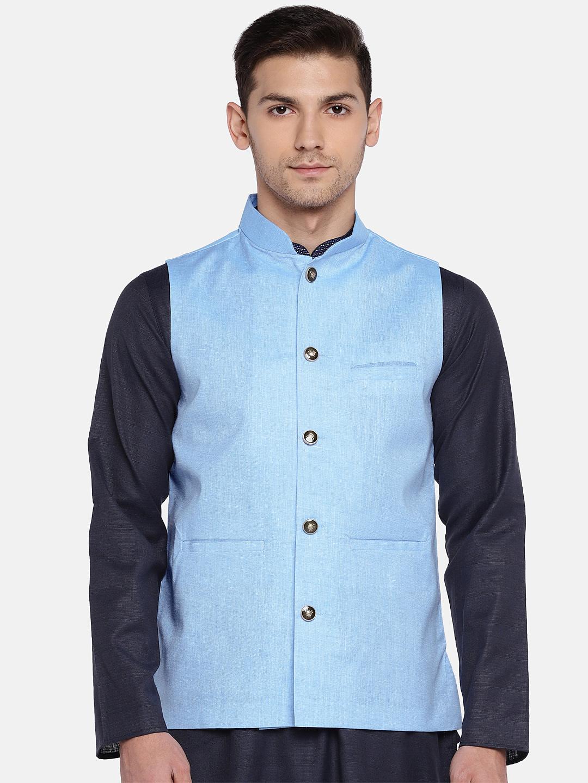 Ethnicity | Ethnicity Sleeveless Cotton Blend Blue Men Jackets