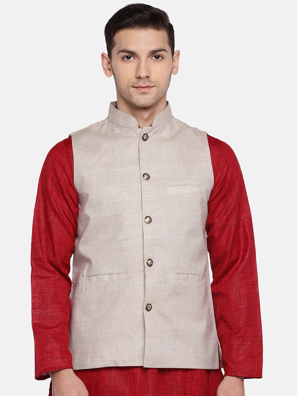 Ethnicity | Ethnicity Sleeveless Cotton Blend Beige Men Jackets