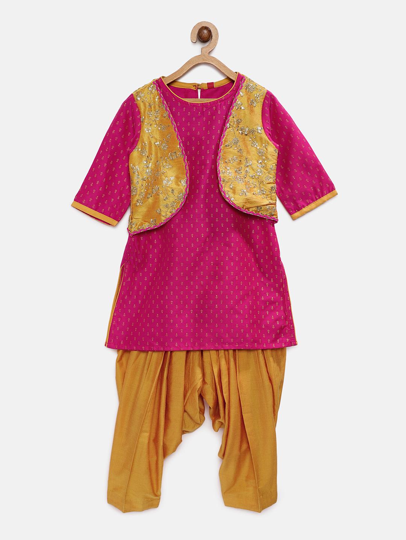 Ethnicity | Ethnicity Pink Polyester Kids Girls Skd