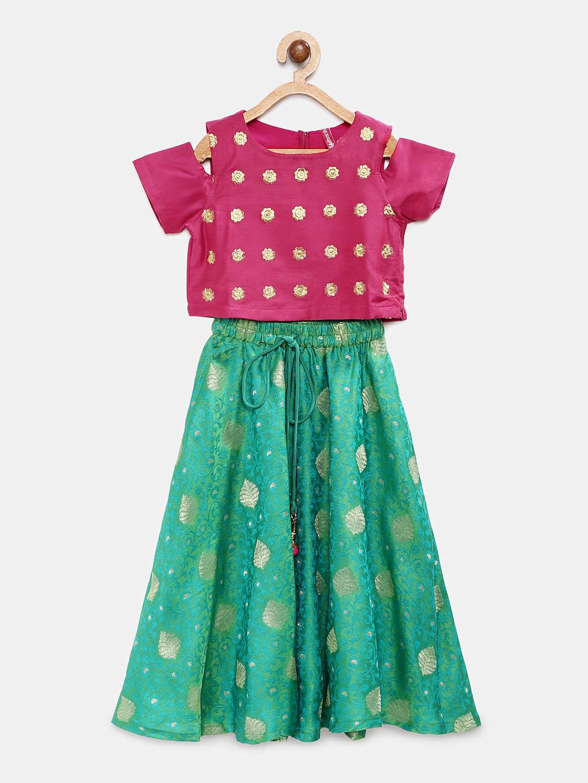 Ethnicity | Ethnicity Green Polyester Kids Girls LehengaSet