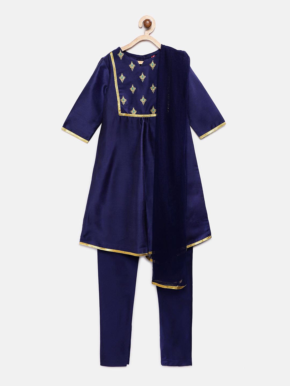 Ethnicity | Ethnicity Royal Blue Chanderi Kids Girls Skd