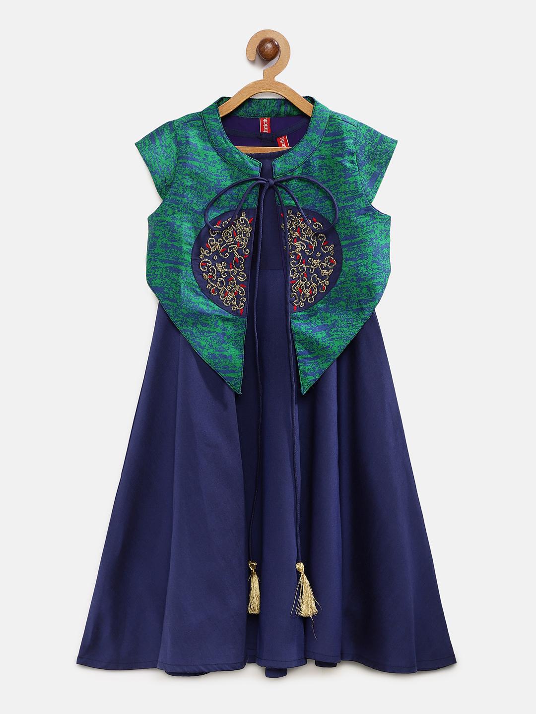 Ethnicity   Ethnicity Royal Blue Polyester Kids Girls Dress