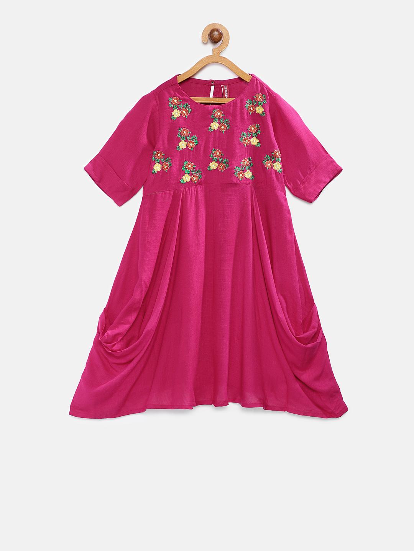 Ethnicity | Ethnicity Fuchsia Rayon Flax Kids Girls Dress