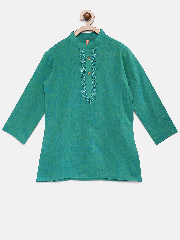 Ethnicity | Ethnicity Green Cotton Kids Boys Kurta