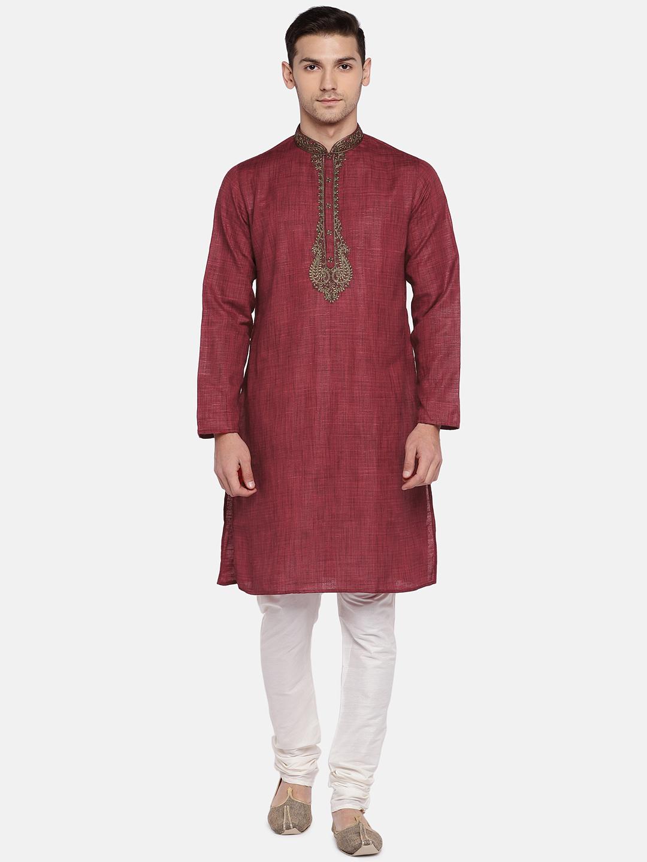 Ethnicity | Ethnicity Red Polyester Blend Men Kurta