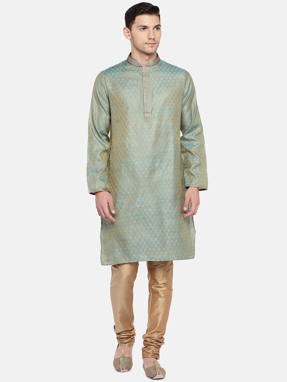 Ethnicity   Ethnicity Turquoise Polyester Blend Men Kp Set
