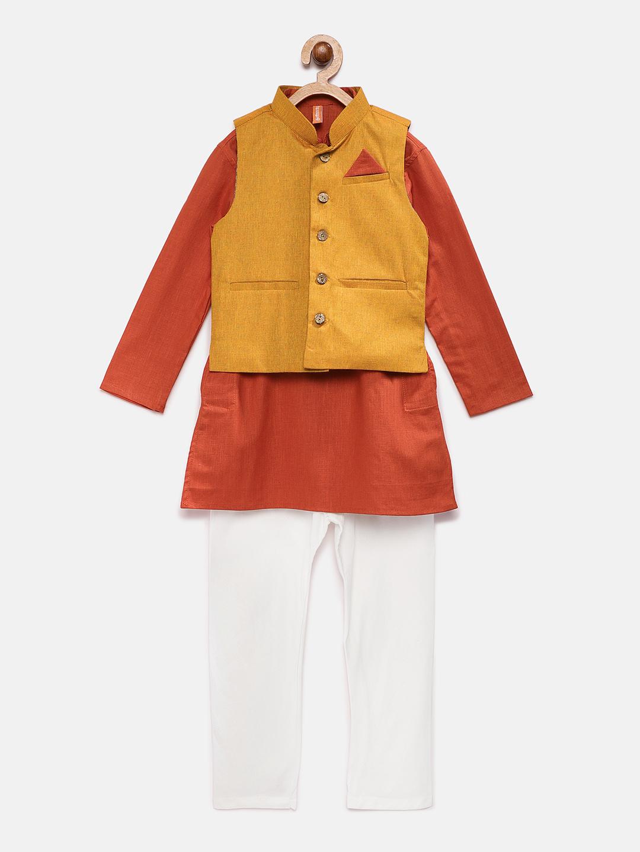 Ethnicity | Ethnicity Mustard Polyester Cotton Kids Boys Kpj Set