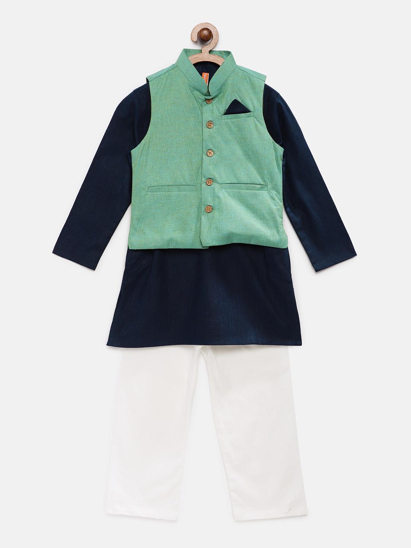 Ethnicity | Ethnicity Green Polyester Cotton Kids Boys Kpj Set
