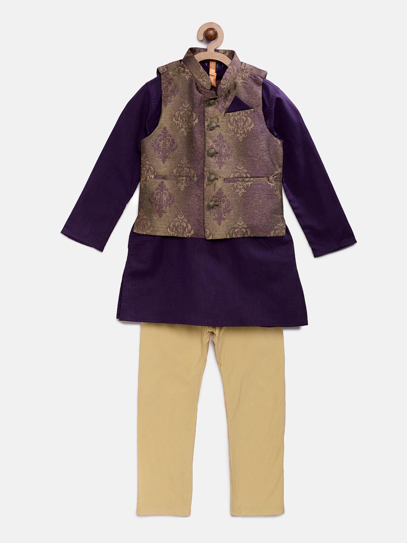 Ethnicity | Ethnicity Purple Polyester Cotton Kids Boys Kpj Set