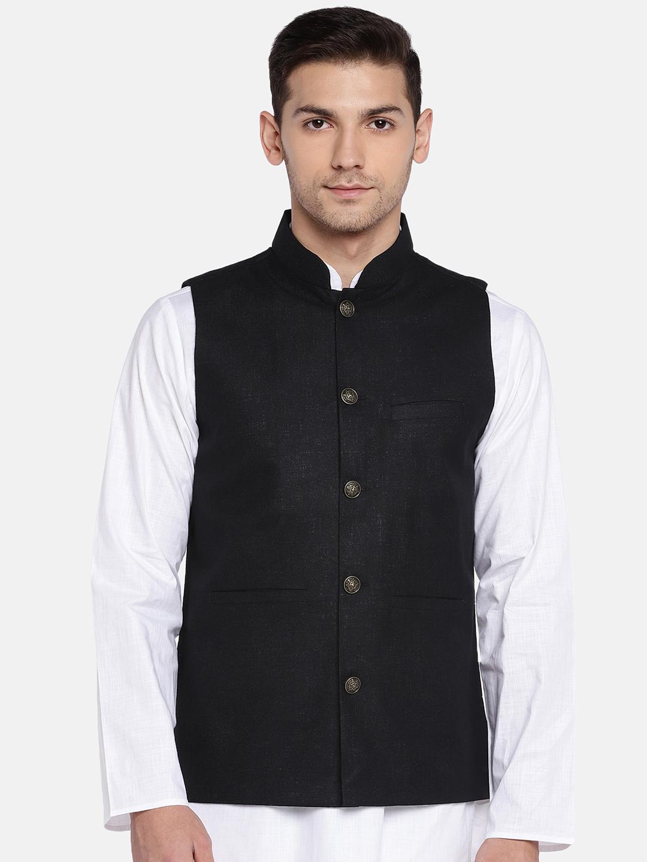 Ethnicity   Ethnicity Sleeveless Polyester Cotton Black Men Jackets