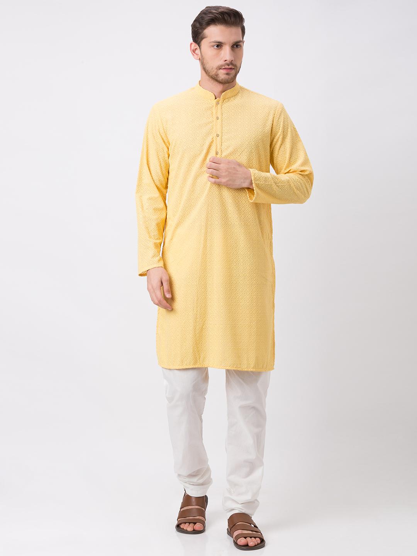 Ethnicity | Ethnicity Polyester Cotton Straight Full Sleeve Men Yellow Kp Set