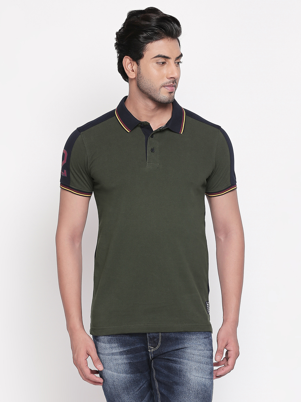 Spykar | spykar Olive & Navy Solid Slim Fit Polo T-Shirt
