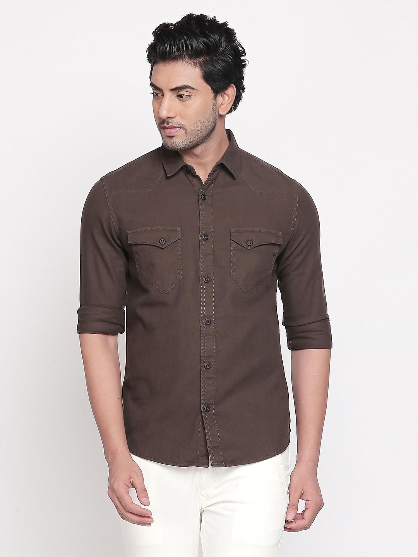 Spykar   spykar Olive Solid Slim Fit Casual Shirt