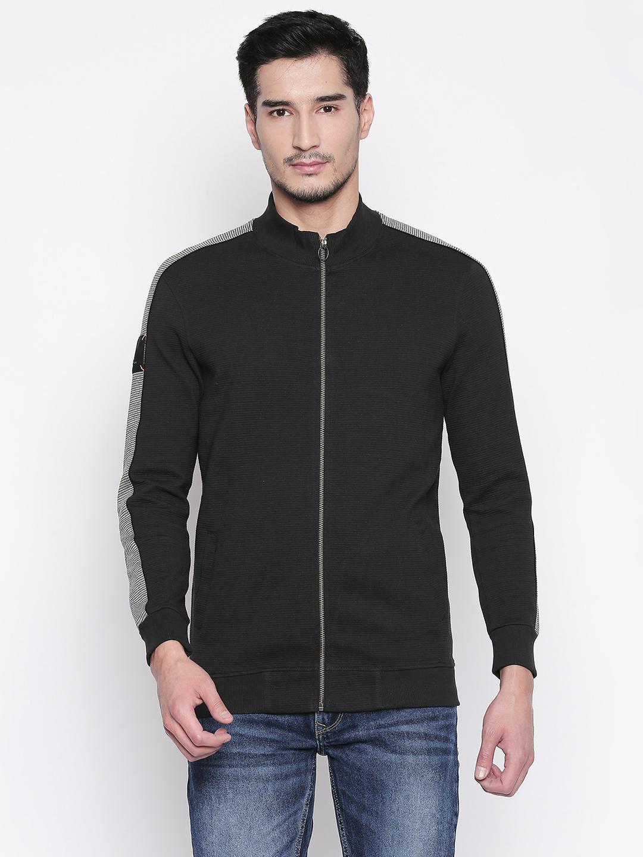Spykar | spykar Black Solid Slim Fit Sweatshirt