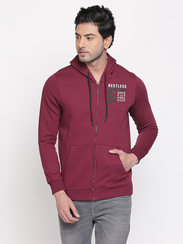 Spykar | spykar Wine Solid Slim Fit Sweatshirt