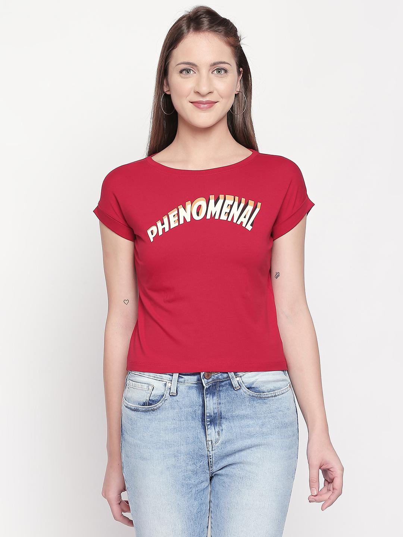 Spykar | spykar Red Solid Slim Fit T-Shirt