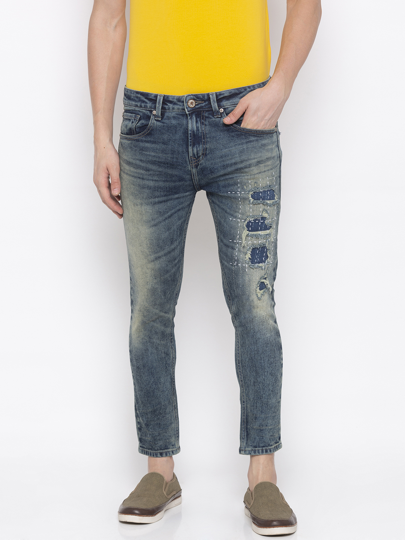 Spykar | Spykar Vintage Blue Ripped Tapered Jeans