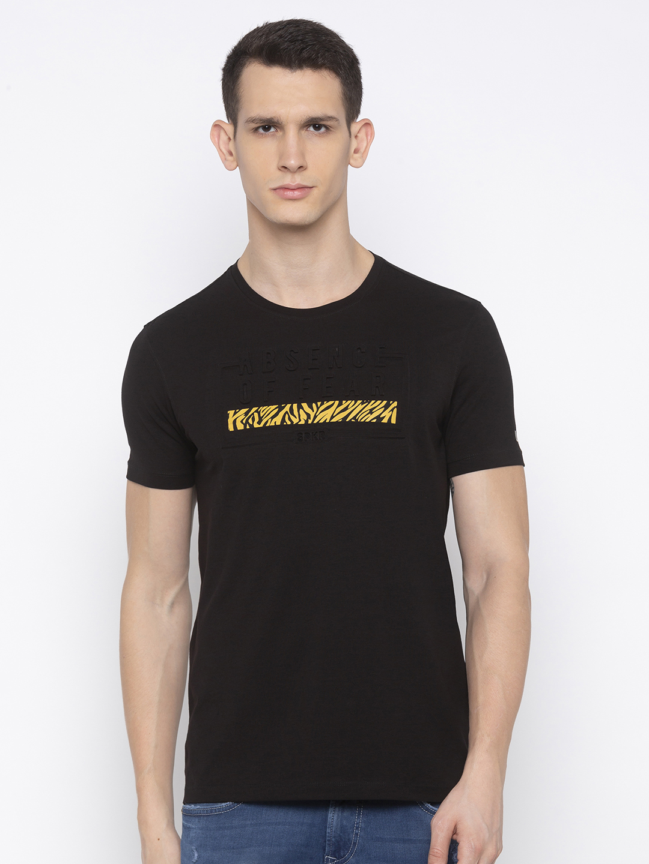 Spykar | spykar Black Blended Slim Fit T Shirt