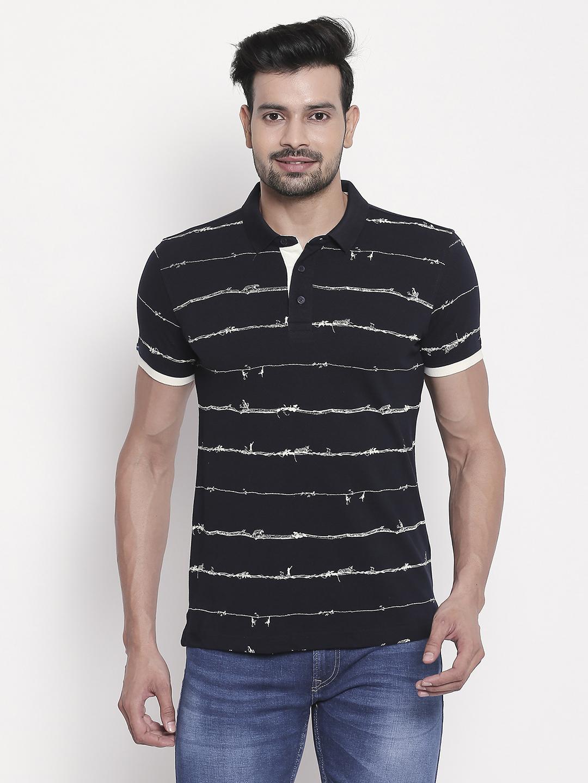 Spykar | Navy Printed Polo T-Shirt