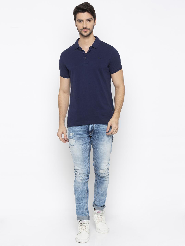 Spykar | spykar Ink Blue Solid Slim Fit Polo T-Shirt