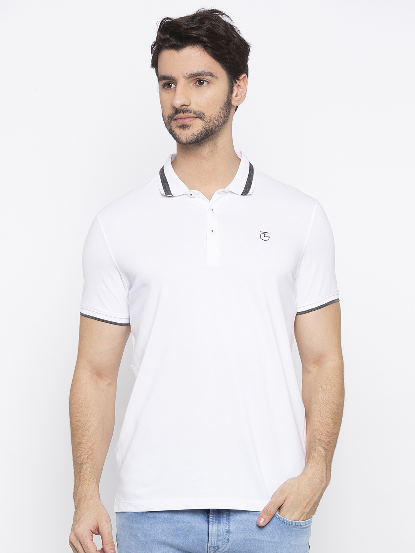 Spykar | spykar White Solid Polo T-Shirt