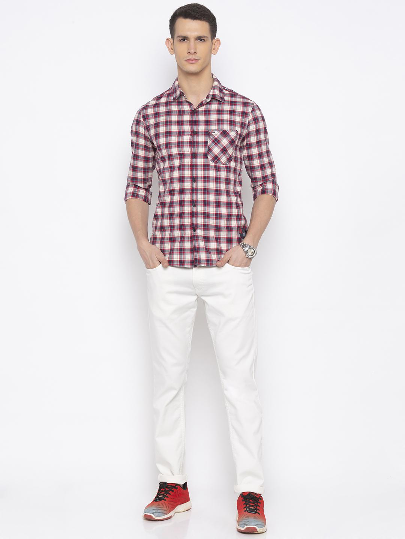 Spykar | spykar Beige Checked Slim Fit Casual Shirt