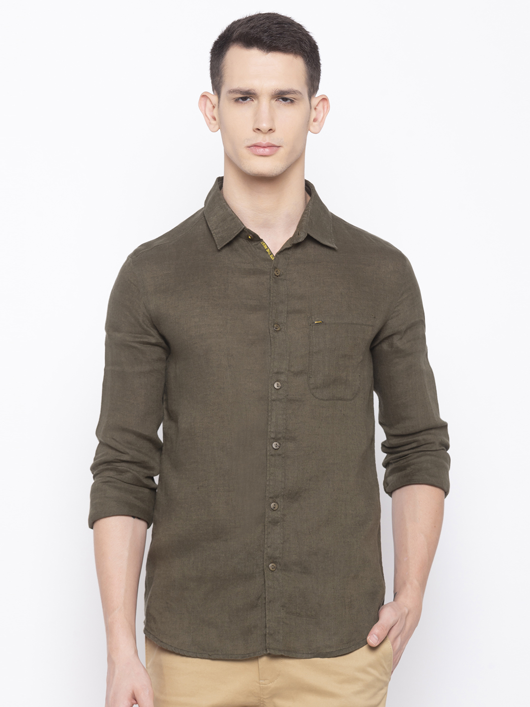 Spykar | spykar Olive Solid Slim Fit Casual Shirt
