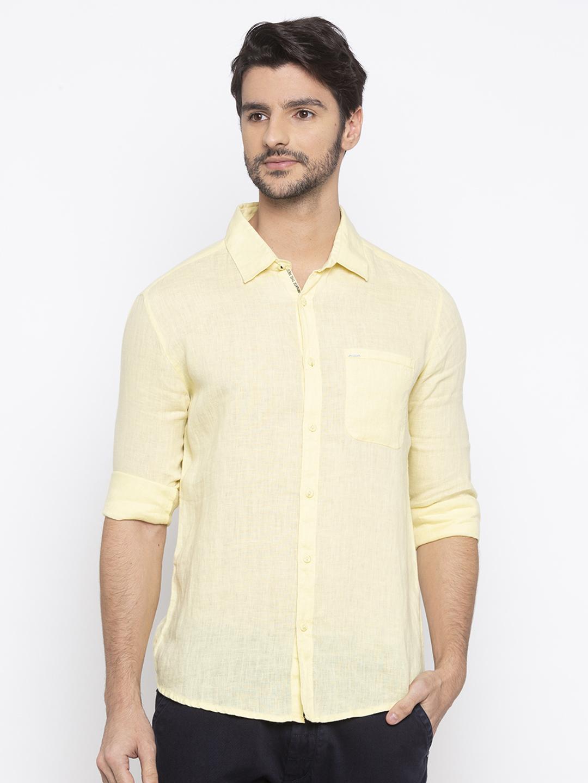 Spykar | spykar Yellow Solid Slim Fit Casual Shirt