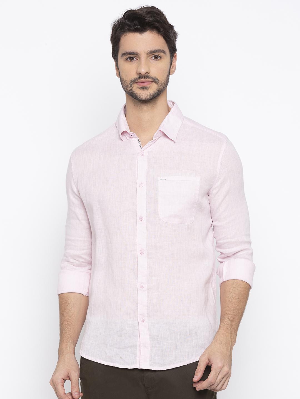 Spykar | spykar Pink Solid Slim Fit Casual Shirt
