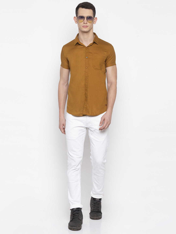 Spykar | spykar Khaki Cotton Slim Fit Shirt