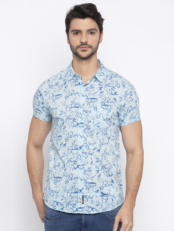 Spykar | spykar Aqua Blue Cotton Slim Fit Shirt