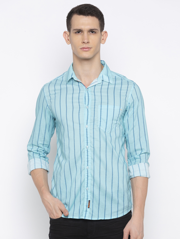 Spykar | spykar Mint Blue Cotton Slim Fit Shirt