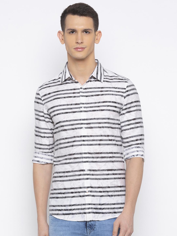 Spykar | spykar Off White Striped Slim Fit Casual Shirt