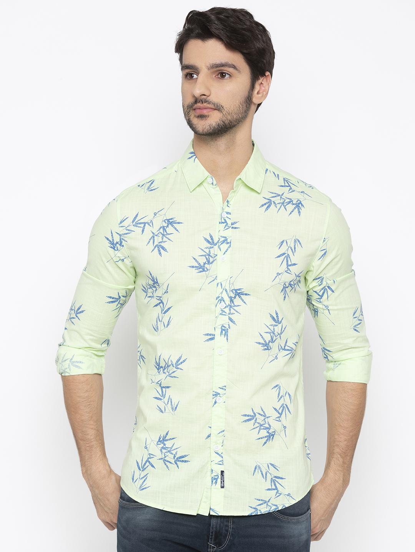 Spykar   spykar Lime Green Cotton Slim Fit Shirt